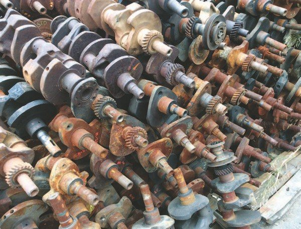 In another corner of the yard at H&H Flatheads is a stack of stock crankshafts, should you need one. However, with the introduction of brand-new cranks from Scat, stock Ford cranks became less desirable.
