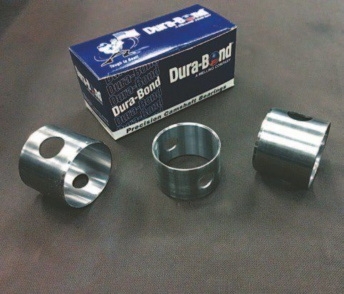 Cam bearings are available from a number of sources. Mike prefers Melling's Dura-Bond brand. Indeed, Dura-Bond makes cam bearings specifically for H&H.