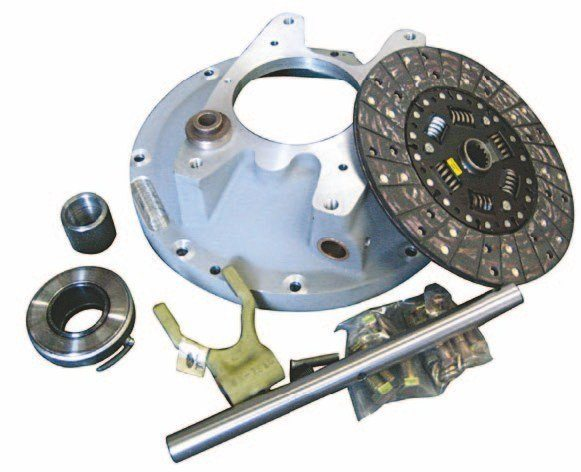 This flathead-to-GM/ Chevy T-5 adapter kit from H&H is more complete than some other kits on the market. It comes with a cast-aluminum bellhousing, clutch disc, pilot bushing, throw-out bushing, fork, and cross shaft. Not all T-5s are exactly the same; you might have to enlarge the four attaching bolt holes to align with the adapter. (Photo Courtesy Wilcap)
