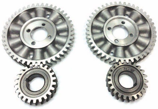SA Gear makes steel crankshaft sprockets and aluminum camshaft gears, while Cloyes makes matched gear sets in a combination of either aluminum and billet steel or ductile iron and billet steel. Original-type fiber camshaft gears are available from Dennis Carpenter. The 1932–1948 engines had their teeth cut in the opposite direction to 1949–1953 engines. Don't try mixing them, because this affects the thrusting control of the camshaft.