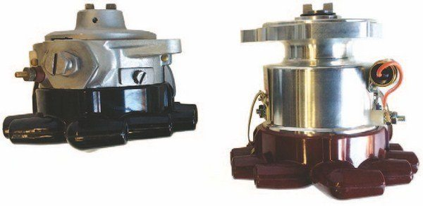 Speedway offers adapter plates to mount the later two-bolt distributor to earlier engines, but the later, three-bolt assembly is much longer and could interfere with the fan.
