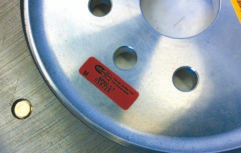 Note the SFI sticker, which indicates that this flywheel meets SFI specifications. Initially, SFI stood for SEMA Foundation Inc., but it became a separate organization in 1978. SFI issues and administers quality-assurance standards for specialty performance and racing equipment.