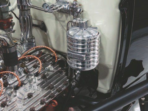 Several remote oil filter assemblies are available and in the right vehicle they can enhance the appearance while keeping the oil clean and cool. This polished cast-aluminum Hildebrandt filter house is from O'Brien Truckers.
