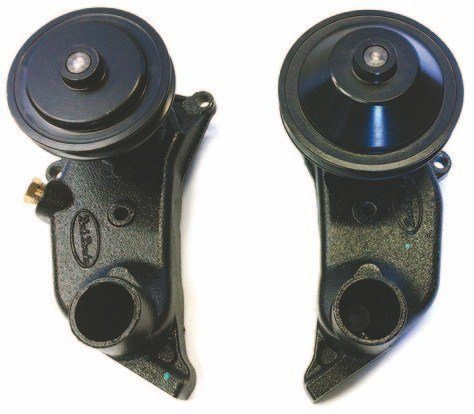Bob Drake makes new cast-iron pumps that match the originals. Their all-new double-row ball bearings and ceramic seals offer superior function and life span compared to stock units. They come fitted with original-style pulleys to accept either 3/8-inch or 5/8-inch belts. Gaskets are included.