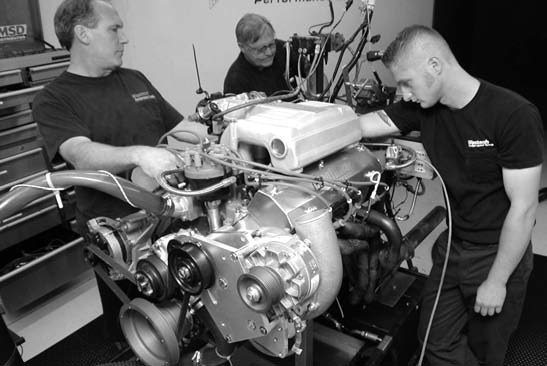 52. With 20-degrees advance in the ignition and Union 76 92- octane unleaded in the tank, our dyno tech very methodically breaks in our Vortech supercharged 408 stroker.