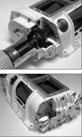 This cutaway of a Rootstype GMC 6-71 supercharger clearly shows the inner mechanical relationship of all the internal components. The supercharger snout, drive, and drive gears are at the front of the unit. These photos also show the rotors inside the case and the end plate. The Roots-type GMC supercharger prevents leaks by using a series of tip seals and annular seals at each end of the case. Oil seals on the ends of the rotor shafts prevent the higher pressure inside the housing from pressurizing the bearings. The rotors themselves are a helical design, although there have been several rotor variations tried on these blowers over the years.