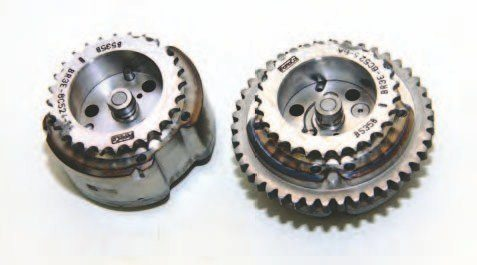 These are the Ti-VCT adjustable cam sprockets/phasers, which advance valve timing as necessary. Cam momentum and valvespring pressure help these phasers, which in turn enables the cams to return to the normal position when the PCM signal terminates oil.