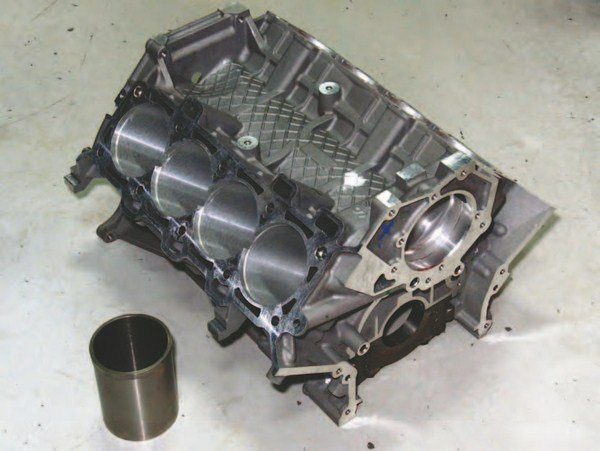 Holbrook Racing Engines re-sleeves Coyote blocks with thicker cylinder liners for those of you seeking in excess of 800 to 1,000 hp. Holbrook can take your stock Coyote block and re-sleeve or can take a block from its inventory.
