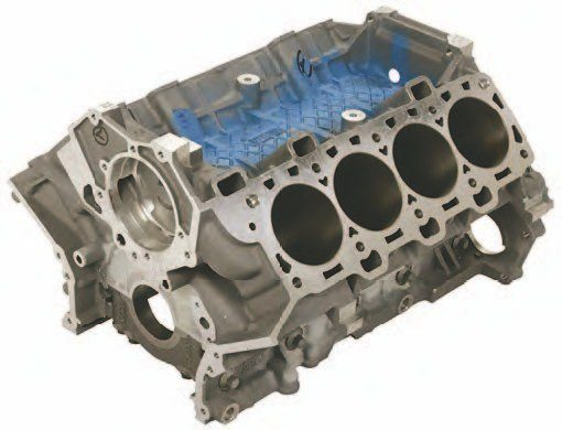 The Ford Performance M-6010-M50R Coyote race block enables you to take peak horsepower well into four-digit territory for just under $3,000. What makes this block stronger isn't so much the bottom end, which is the same as the stock block, according to Jesse Kershaw, drag racing parts and competition manager at Ford Performance. It is the block deck and thicker material around the thin-wall cylinder liners that give this race block extraordinary strength. Cast-in cylinder supports on the intake side help hold things together. (Photo Courtesy Ford Performance Parts)