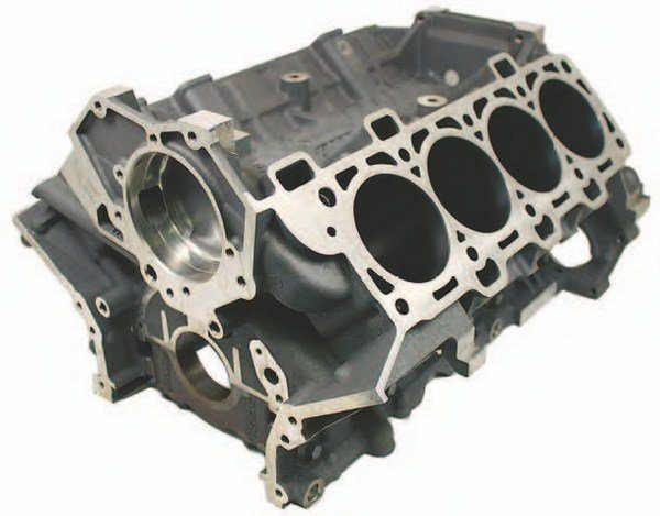 This is the 5.2L GT350 block now available from Ford Performance Racing Parts. It is the same production block used in the Shelby GT350 and GT350R. You can get it now for your 5.2L big-bore Coyote build project. (Photo Courtesy Ford Performance Parts)