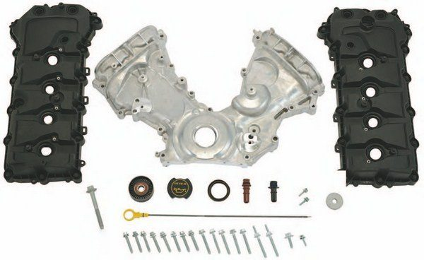 If you're building a Coyote from scratch and are beginning with a short-block and heads, it's nice to know that you can still buy everything new from Ford Performance Parts. This is the M-6580-M50-1 timing and cam cover kit, which includes everything, including idler pulleys and all hardware. Everything is here to button it up. (Photo Courtesy Ford Performance Parts)
