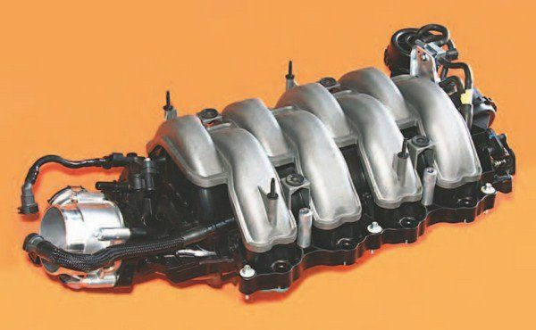 Ford made significant changes to Coyote induction for 2015–up with CMCV, which varies the length of the intake runners to improve low-end performance and idle quality. CMCV and the new 2015-up Coyote cylinder head are a married package, meaning that they were designed for each other. The 2015–up head has extended intake port flanges designed to accommodate the CMCV intake manifold.