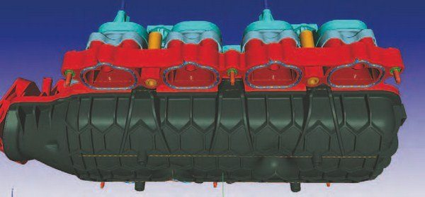 Here's the flip side of the 2011–2014 manifold's left-hand (driver) side. This may help you understand why the 2015– up cylinder head is a rough interchange. The 2015–up head's extended intake port flange presents clearance issues when mated to the 2011–2014 intake manifold. (Photo Courtesy Ford Performance Parts)
