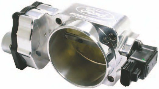 Looking for quick bolt-on power? The M-9926-M5090 90-mm throttle body from Ford Performance Racing Parts is an improvement over the 80-mm stock piece, but honestly, you should invest wisely in not just a throttle body but also the entire induction package from Ford Racing Performance Parts. The 90-mm throttle body should be married to the BOSS 302 intake plenum for best results, along with the appropriate injectors. (Photo Courtesy Ford Performance Parts)