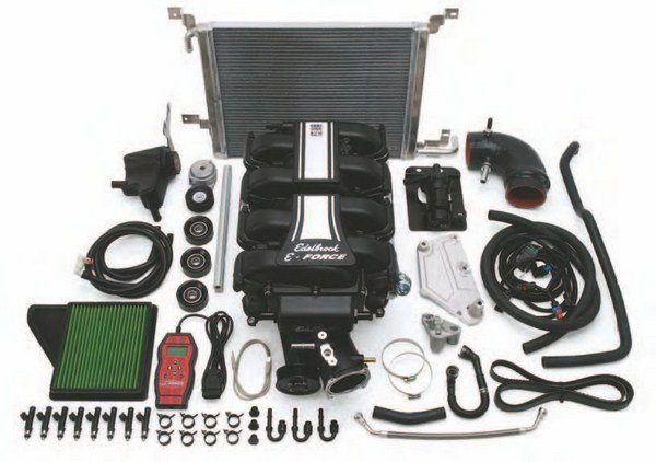 Check out Edelbrock's new E-Force Supercharger System for 2011–2014 and 2015–2016 Coyote engines. This complete, easy-to-install system went in excess of 700 hp in Edelbrock's dyno labs on top of a Ford Performance Racing Parts Aluminator Coyote. (Photo Courtesy Edelbrock)