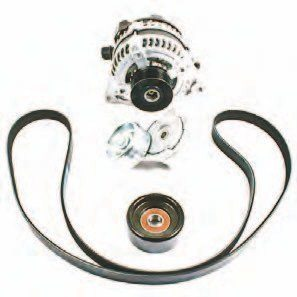 The Ford Performance Racing Parts 5.0L Coyote Boss 302 alternator kit, M-8600-M50B-ALT, includes special high-performance components as used in the production 2012–2013 Boss 302 Mustang. They're engineered to operate at much higher RPM using a one-way clutch to prevent belt failure during manic upshifts. The belt tensioner has greater tension for better belt control at high RPM, and the larger-diameter pulley slows armature speed, which reduces drag and parasitic power loss. This is not a higher-amp alternator. It is designed specifically for high-RPM use.