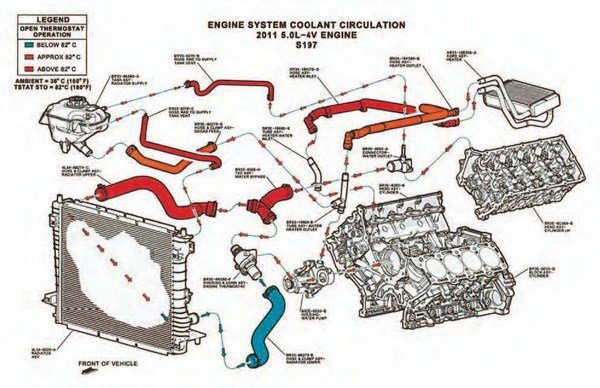 "This illustration shows the Coyote cooling system's function and component location. The cooling system function begins with coolant leaving the radiator at the bottom and going into the engine via a lower radiator hose and water pump. Coolant enters the engine at the left-hand (driver) cylinder head at the thermostat and reaches exhaust valves on both heads first before flowing into the rest of the engine. Coolant exits the engine at the coolant neck on top and flows back to both the radiator and a return to the engine at the ""Y""-pipe. The logic behind Coyote cooling system function is recirculation of coolant via the ""Y"" for faster warm-up and more generous coolant flow. The thermostat opens at 180 degrees F, allowing coolant flow from the radiator. (Illustration Courtesy Ford Performance Parts)"