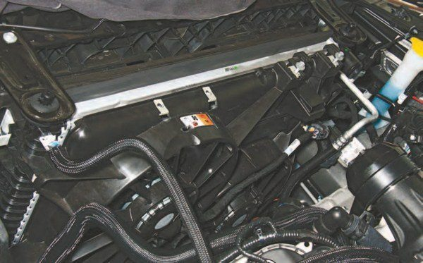 Ford engineers made sure the Coyote had adequate cooling from the factory. At press time, the aftermarket hasn't answered the call to any great degree for a high-capacity radiator. However, Ford Performance Racing Parts brings you the M-8005-M8 high-efficiency radiator in the 2015– 2016 Mustang GT. It offers greater cooling capacity and is a simple drop-in swap.