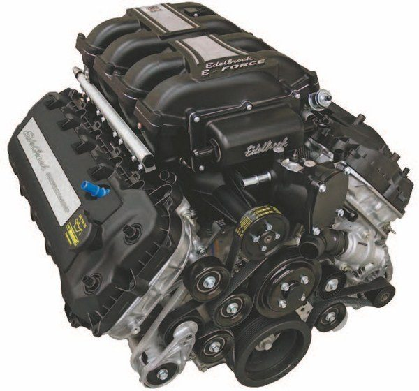 Edelbrock's E-Force Coyote is a drop-in supercharged package you can swap into your S197 or S550 Mustang over a weekend and have 700 hp available. This is also a nice swap for a classic Mustang or vintage Ford. Edelbrock also offers the E-Force supercharger kit for Coyote engines. The nice thing about the E-Force Coyote is its Ford Performance Aluminator status: forged pistons and H-beam rods down under for extreme durability. (Photo Courtesy Edelbrock)